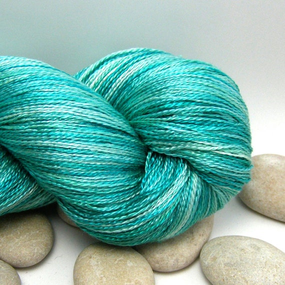 Hand Dyed Knitting Yarn Swiss Silk  - Lace Weight, variegated, 980yds - Seafoam