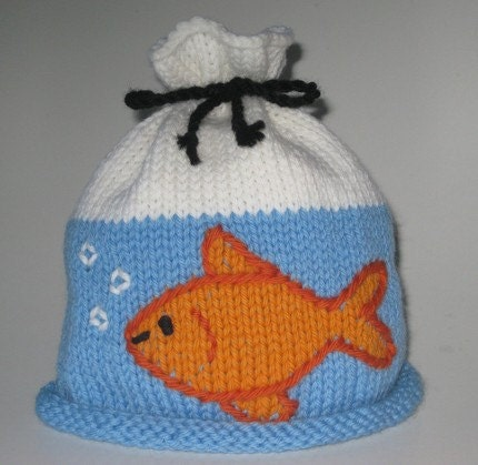 Knitting Pattern For T Bag Hat : Goldfish in a Bag Hat-PDF Knitting Pattern