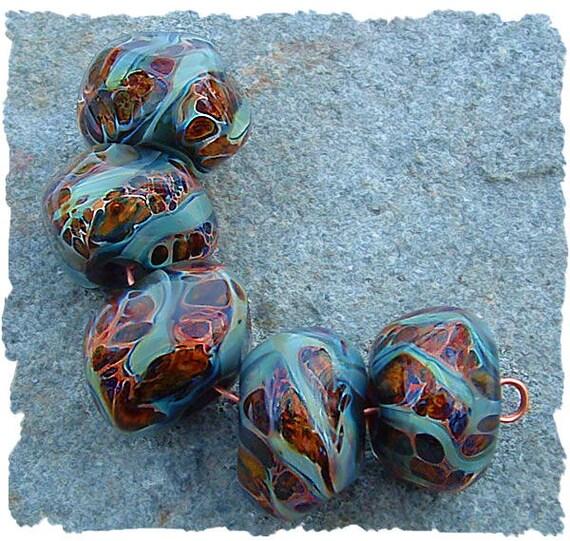 Lampwork Beads,  Boro Glass Lampwork Beads, River Rocks by Javabead