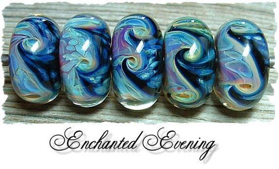 TAKE 10 OFF SALE- Enchanted Evening - Glass Artisan Boro Lampwork Beads, BHV