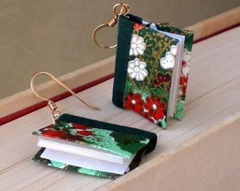 Mini Book Earrings, Green Hillsides Book Earrings
