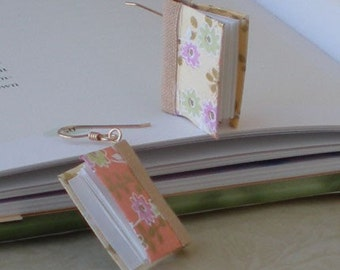 Daises on Peach Apricot Book Earrings