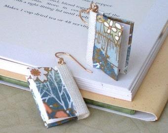Mini Book Earrings, Blue Hillsides Book Earrings
