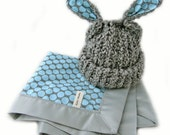 Baby Gift Set Grey Lamb Hat and Blue Full Moon Polka Dot Woobie Blanket