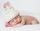 Organic Cotton Knit Baby Hat with Lamb Ears in Ivory for Newborn Babies to Toddlers Baby Shower Gift Photography Prop