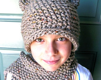 Tweed Bear Ears Knit Hat and Scarf Set for Kids to Young Adult