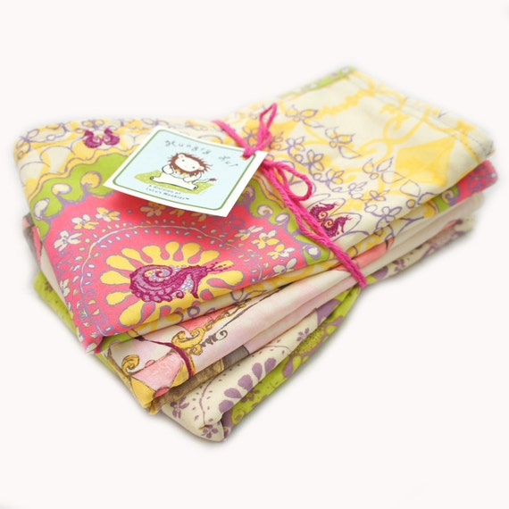 Cotton Terry Cloth Baby Burp Cloths Seahorses and Pachyderms