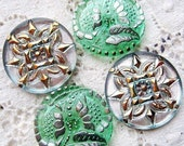 4 modern czech art glass buttons for your creations...emilys buttons...mixed finishes...pairs