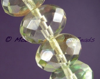 4 Czech Large 9x14mm Rondelle Beads Chrysolite Lumi (G - 345)