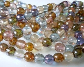 50 Multi Color Luster Assortment 50 Czech Glass Beads 6mm Smooth Round