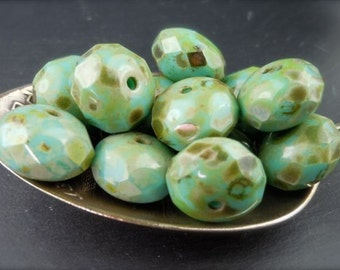 Turquoise Picasso Czech Glass Beads 11mm Rondelle - 10 (G - 282)