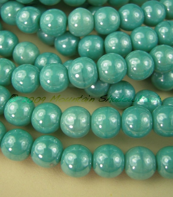 Czech Glass Beads 6mm Opaque Turquoise Luster 50