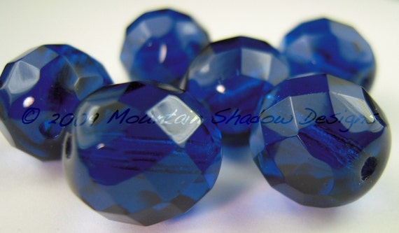 Czech Glass Beads - 12mm Faceted Round Capri 6