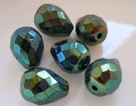 6 Czech Glass Large Drop Beads Green Iris 13x10mm