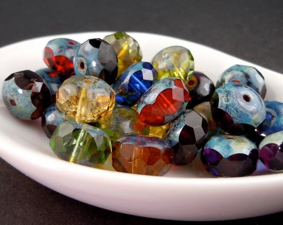 Czech Glass Beads Large 11mm Multi Color Picasso Rondelle - 10