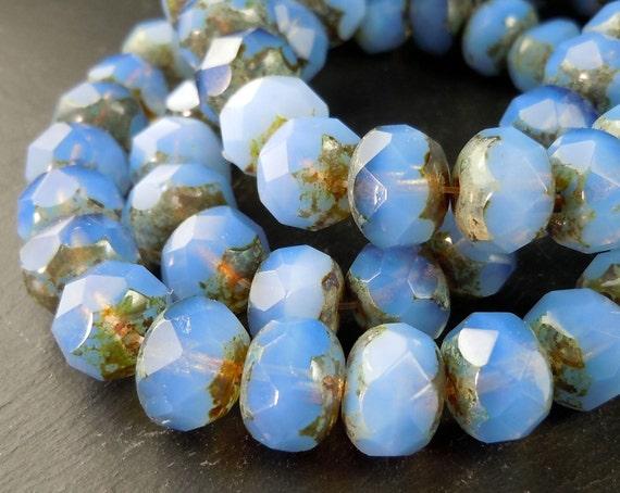 Czech Glass Bead 12 Milky Sky Blue Picasso 9mm Rondelle (G-234)
