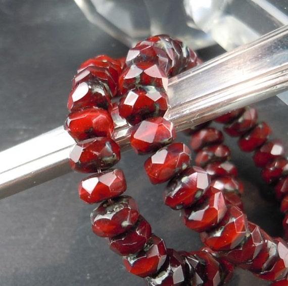 30 3x5mm Red Velvet Picasso Rondelle - Czech Glass Beads -  ( G - 170)