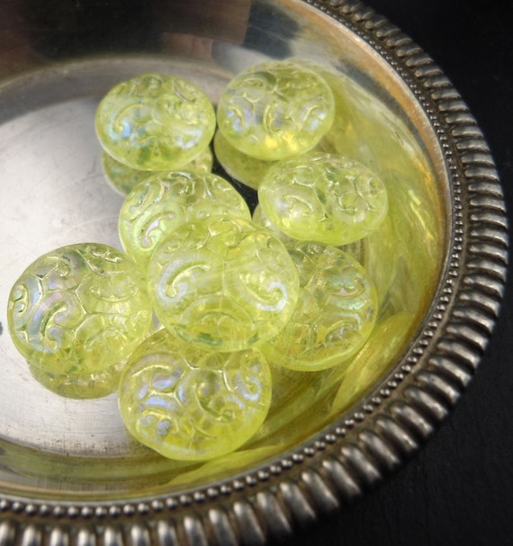 Czech Glass Beads 13mm Ornate Scroll Beads Lemon Ice Luster - 8