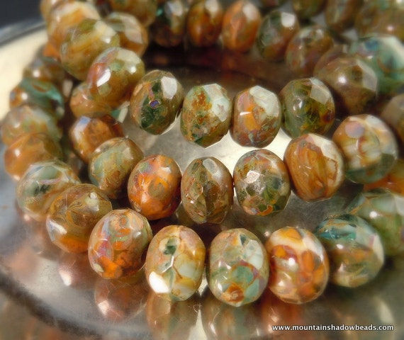 12 Green Agate Picasso 9mm Rondelle - Czech Glass Beads