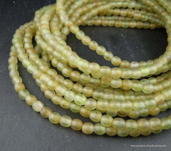 Czech Glass Beads Matte Hurricane Green 4mm Druk - 100 - perfect for leather wrap bracelets