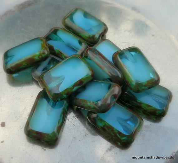 12 Czech Glass Beads 8x12mm Capri Blue/White Picasso Table Cut (C10- 1)