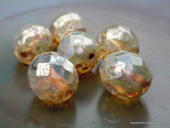 6 12mm Firepolished Faceted Round Beads Light Milky Topaz Luster Czech Glass Beads