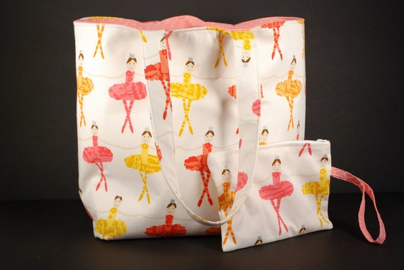 Ballerina Fabric Dance Shoe and Accessory Tote Bag