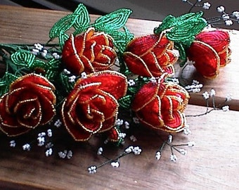 Stunning French Beaded Rose