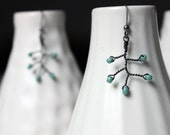 Branch - matted seafoam Japanese glass and dark annealed steel wire earrings