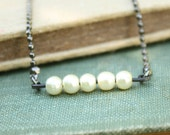 Abacus Necklace - tiny white pearls on oxidized sparkly ball chain