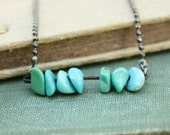 Abacus Necklace - natural turquoise chips on oxidized sparkly ball chain