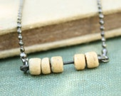 Abacus Necklace - tiny wood beads on oxidized sparkly ball chain