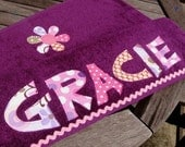 Personalized Appliqued Beach Towel- purple