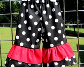 Double Ruffle Pants- Black and Red