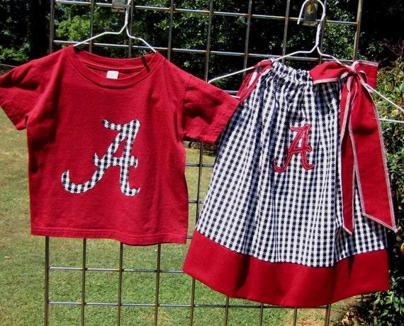 Brother/ Sister Set- Alabama Pillowcase dress and t-shirt- Crimson and Houndstooth