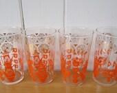 SALE 4 vintage orange glasses