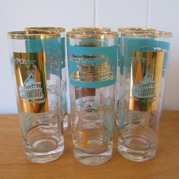 vintage Southern Comfort cocktail glasses 6