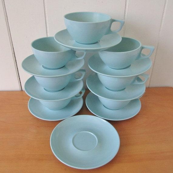 15 piece vintage aqua blue cup and saucer set