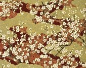 Chiyogami or yuzen paper - gold and azuki springtime blossoms, 9x12 inches