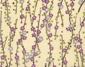 Chiyogami or yuzen paper - silver and purple plum blossoms, 9x12 inches