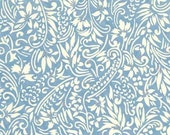 Chiyogami or yuzen paper - spring blue, ivory swirl with silver, 9x12 inches
