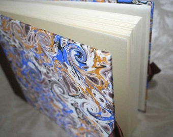 Handbound photo album - marbled curl in bright blue and cocoa with ochre, small, studio CLEARANCE price