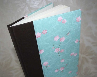 Handbound address book - floating blooms in pink and aqua, studio CLEARANCE price
