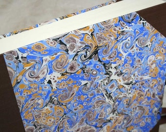 Handbound photo album - marbled curl in bright blue and cocoa with ochre, extra-large, studio CLEARANCE price