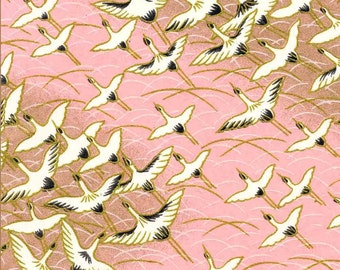 Chiyogami or yuzen paper - long life cranes in pink and gold, 9x12 inches