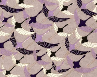 Chiyogami or yuzen paper - long life cranes in purple, 9x12 inches