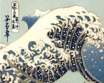 Chiyogami or yuzen paper - Hokusai waves, blue and gold, 9x12 inches