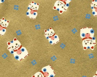 Chiyogami or yuzen paper - lucky kitty on metallic gold, 9x12 inches