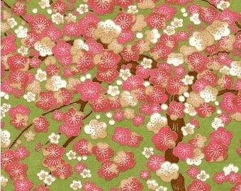 Chiyogami or yuzen paper - cherry blossoms - pink and green, 9x12 inches