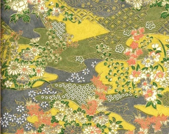 Chiyogami or yuzen paper - grey and ochre waves with delicate flowers, 9x12 inches